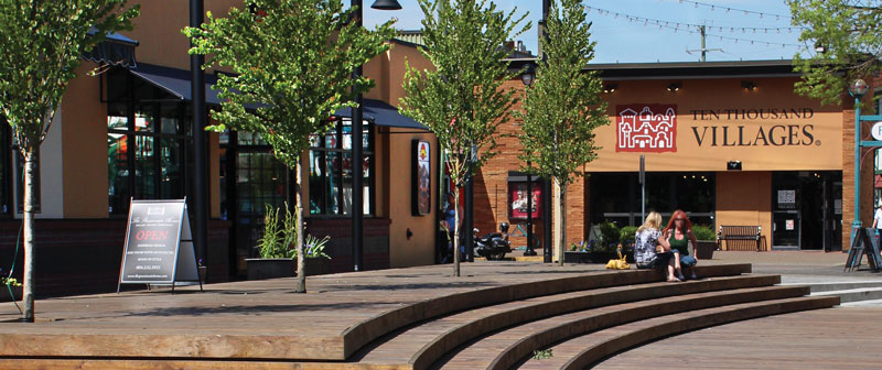 Sunny day at McBurney Plaza in downtown Langley City.